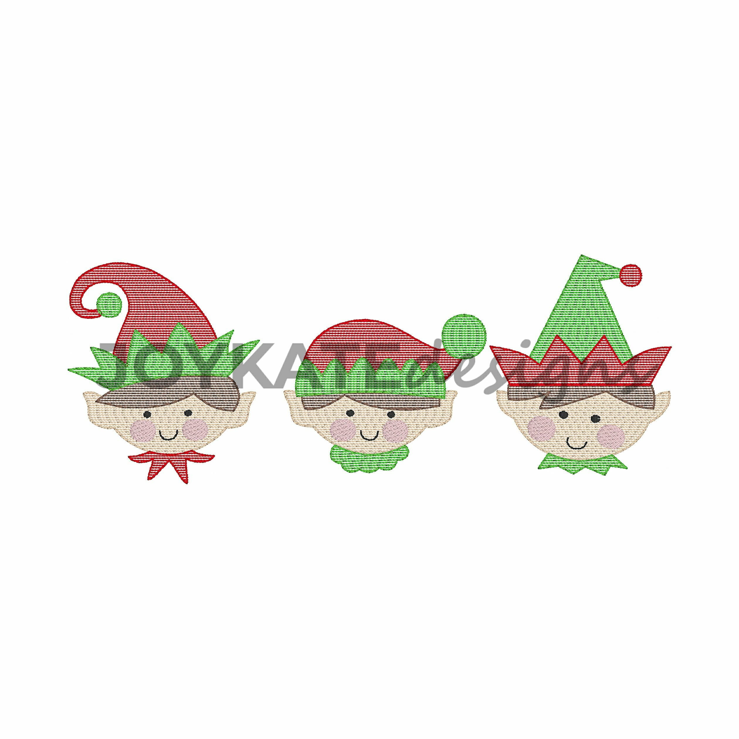 Boy elf trio vintage embroidery design joy kate designs