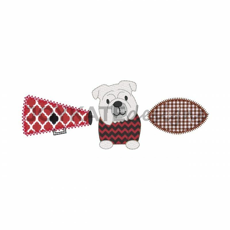 Bulldog Football And Megaphone Applique Trio Embroidery