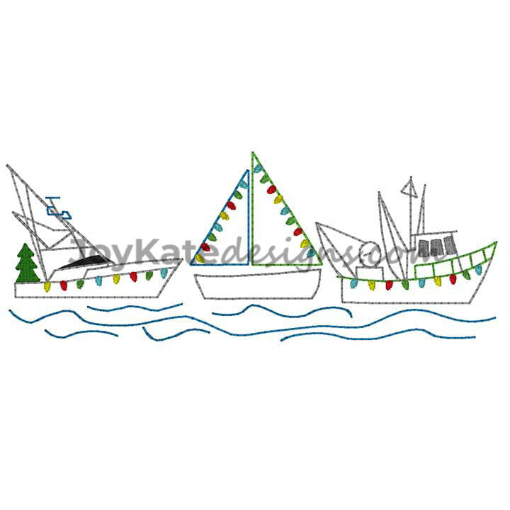 Christmas Boats Vintage Stitch Embroidery Design