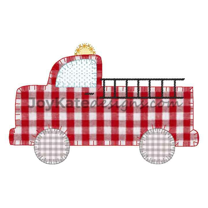 Fire Truck Vintage Applique Embroidery Design Joy Kate Designs