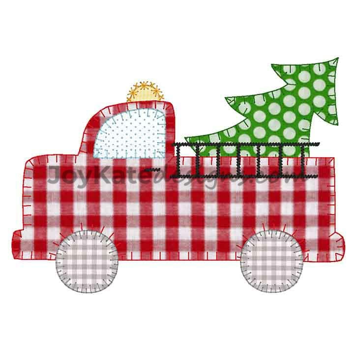 fire truck with christmas tree vintage applique u0026 39  embroidery design