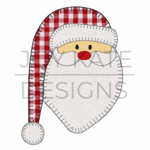 Vintage Blanket Stitch Santa Claus Applique Design for Machine Embroidery