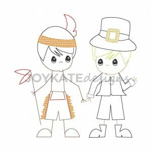 Fall Bean Stitch Thanksgiving Pilgrim and Indian Boy Children