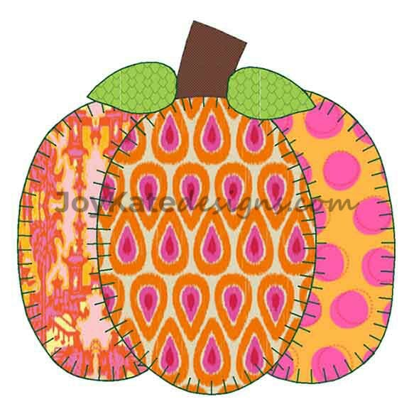 Pumpkin Vintage Applique Embroidery Design Joy Kate Designs
