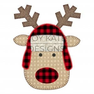 Blanket and Zigzag Stitch Rudolph with Trapper Hat Christmas Applique