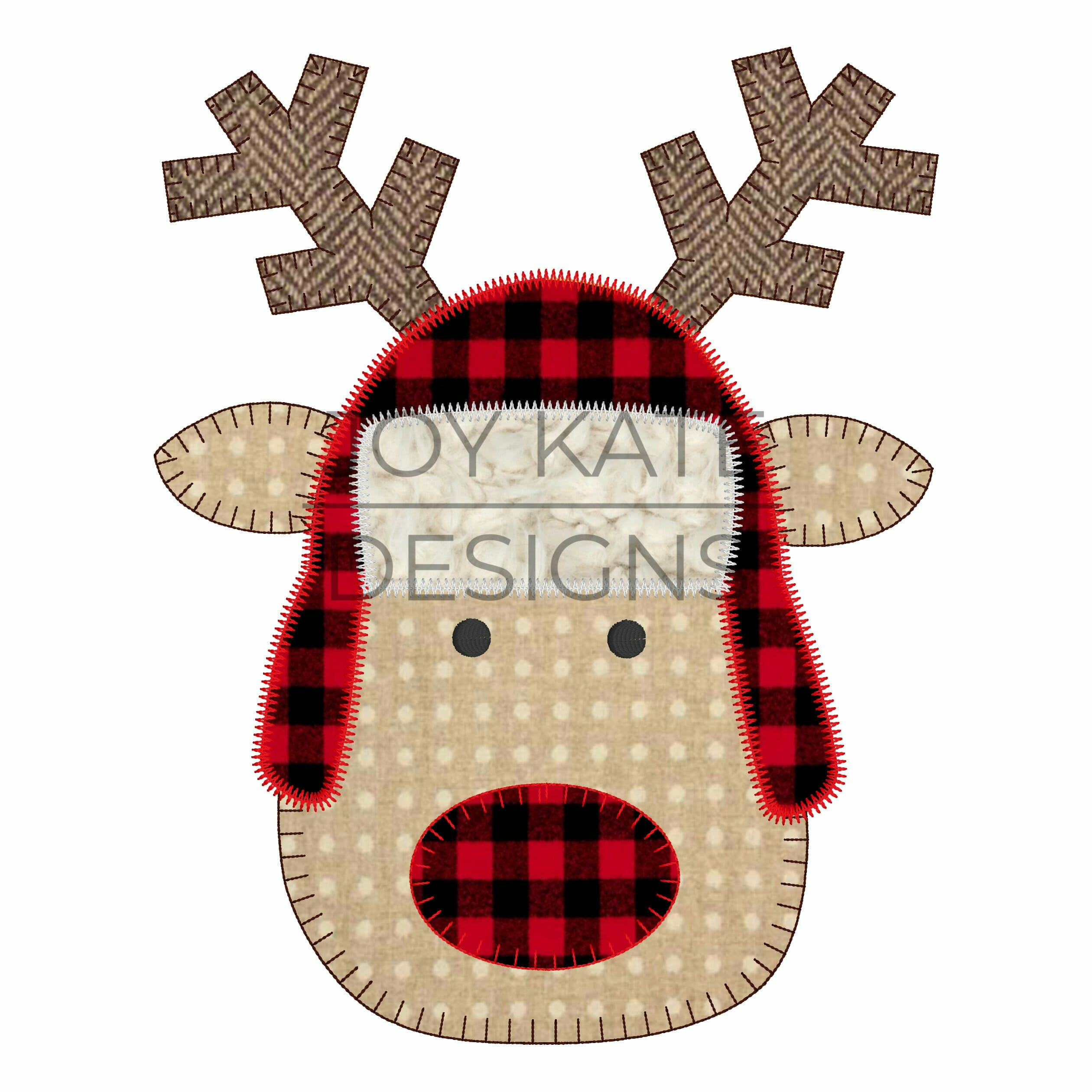reindeer face with trapper hat vintage applique. Black Bedroom Furniture Sets. Home Design Ideas