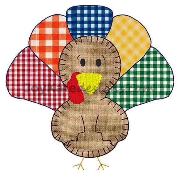 Thanksgiving Turkey Vintage Applique Embroidery Design Joy Kate