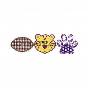 Bean and Zigzag Vintage Stitch Raggy Applique with Pawprint
