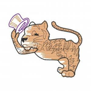 Light Fill Sketch Tiger Football Mascot