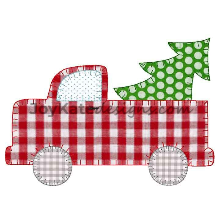 Truck With Christmas Tree Blanket Stitch Applique Embroidery Design