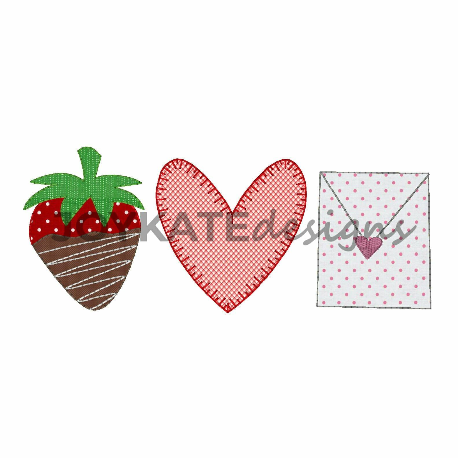 Valentine s day trio vintage applique embroidery design