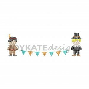 Light Fill Stitch Thanksgiving Boys Holding Banner Machine Embroidery Design