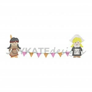 Light Fill Stitch Thanksgiving Girls Holding Banner Machine Embroidery Design