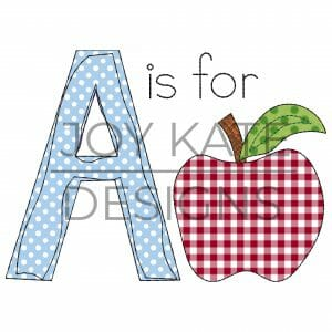 Back to School Apple Applique Design for Machine Embroidery