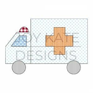 Ambulance bean stitch applique machine embroidery design