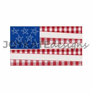 Vintage Bean Stitch American Flag Applique for Machine Embroidery