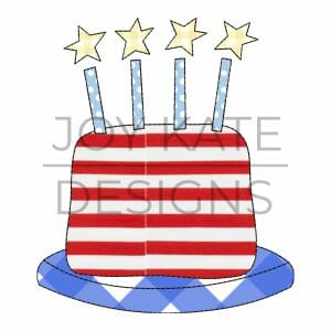 July 4th America Birthday Cake Vintage Applique Design for Machine Embroidery