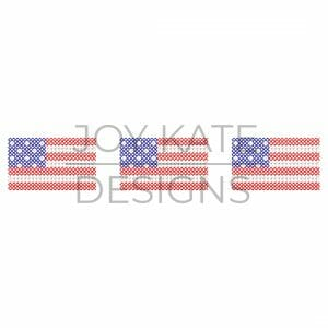 American Flag Trio Cross Stitch Embroidery Design