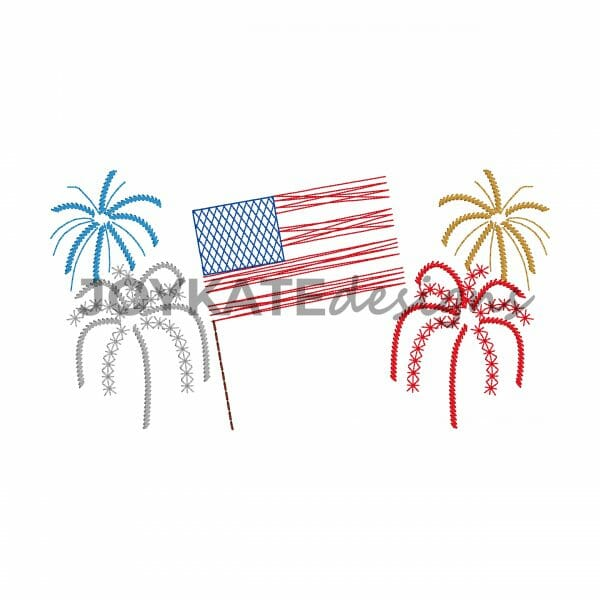 Bean Stitch July 4th Three in a Row Design for Machine Embroidery