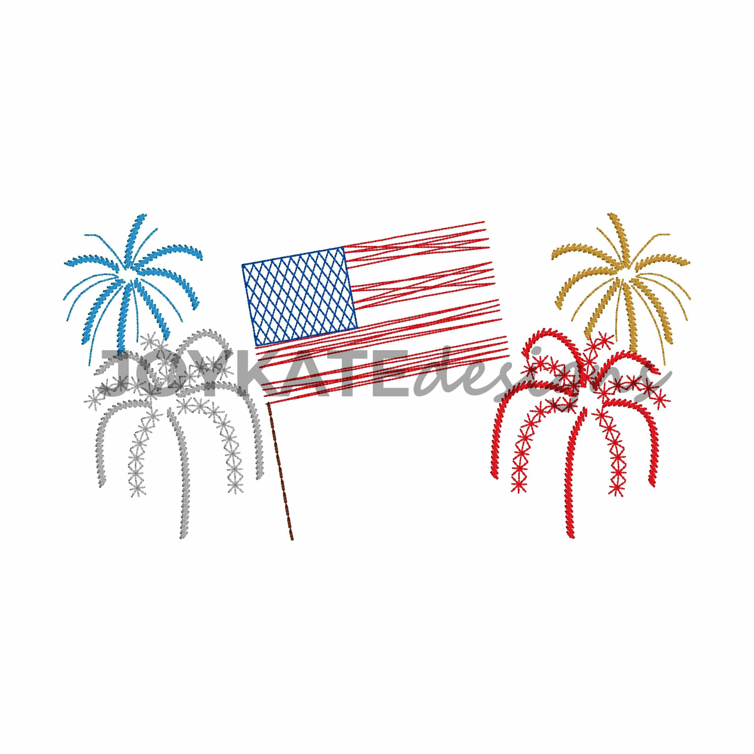 American Flag And Fireworks Vintage Embroidery Design
