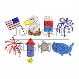 Set of 8 Mini Patriotic Designs for Machine Embroidery