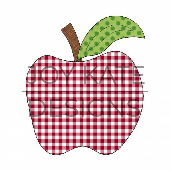 Vintage bean stitch back to school apple applique design for machine embroidery
