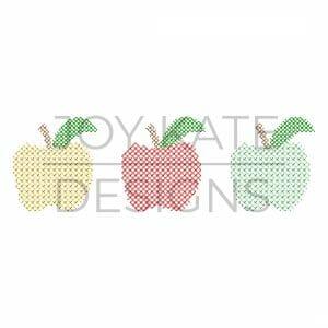 Cross stitch apple trio design for machine embroidery