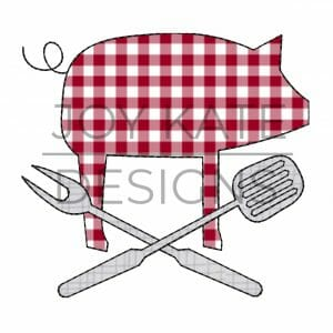 Vintage bean stitch barbecue pig applique design for machine embroidery