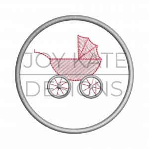 Baby carriage Christmas ornament embroidery design
