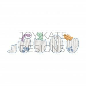 Row of four light sketch fill dinosaur eggs machine embroidery design