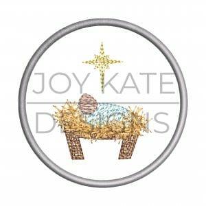 Baby Jesus nativity Christmas ornament embroidery design