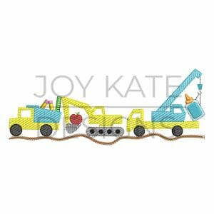 Back to School Construction Vehicle Trio Light Fill/Low Density Embroidery Design