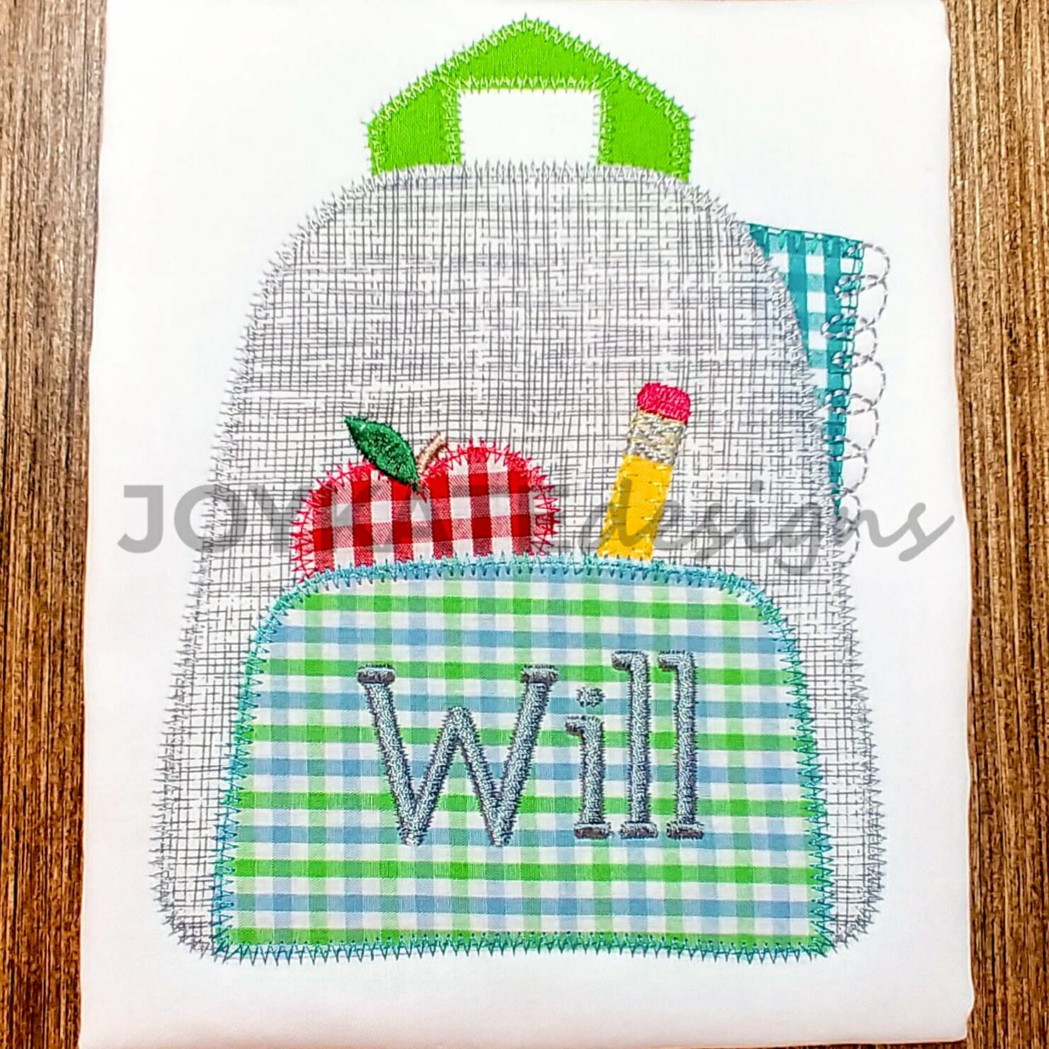 Backpack With School Supplies Applique Embroidery Design