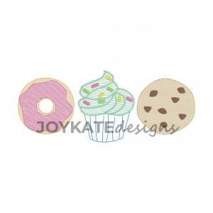 Baked Goods Light Fill Design for Machine Embroidery