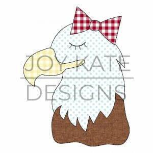 Girl Bald Eagle Applique Design for Machine Embroidery