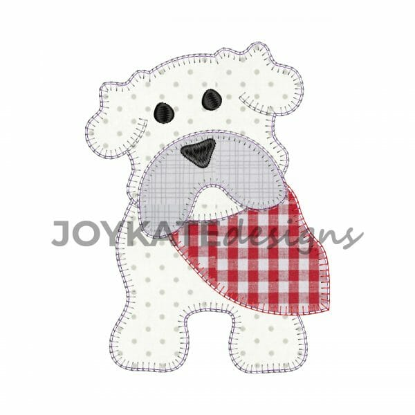 Vintage Blanket Stitch Bulldog Applique Design for Machine Embroidery
