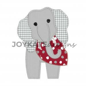 Vintage Blanket Stitch Elephant Applique Design for Machine Embroidery