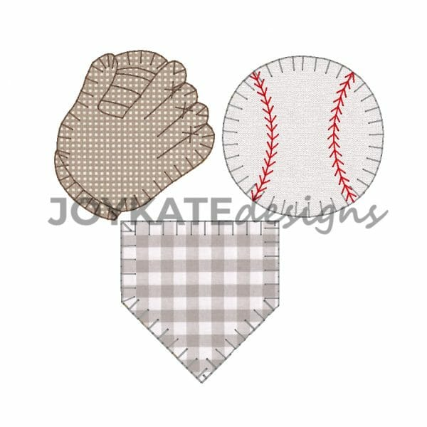 Build your own applique design! Baseball, glove, and home base are all included as separate designs in the download