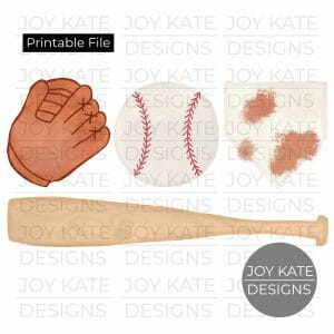 Baseball watercolor PNG image featurs a baseball, glove, home plate, and bat. Printable digital file for HTV, sublimation, paper goods, scrapbooking, and more