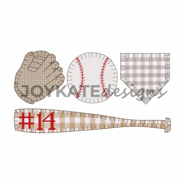 Blanket stitch applique including glove, baseball, home base, and bat.