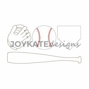 Vintage Bean Stitch Baseball Design for Machine Embroidery