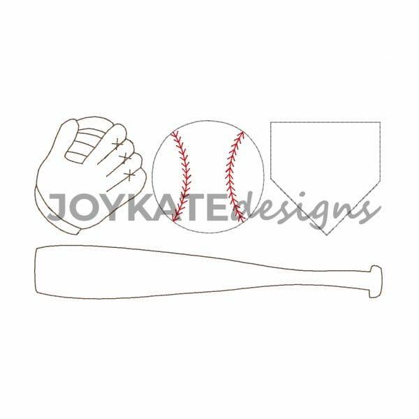 Vintage Bean Stitch Baseball Design for Machine Embroidery