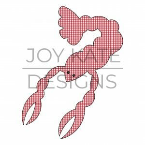 Vintage raggy bean stitch crawfish applique design for machine embroidery