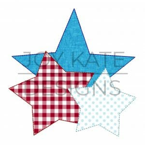 Vintage bean stitch stars applique design for machine embroidery