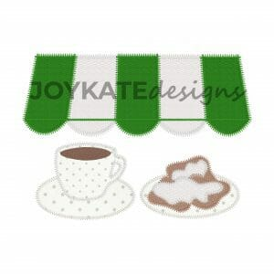 Beignets & Coffee Zigzag Stitch Applique Design for Machine Embroidery