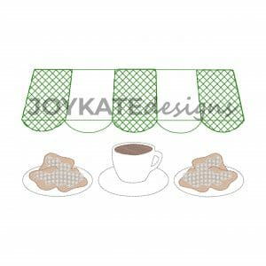 Beignets & Coffee Design for Machine Embroidery