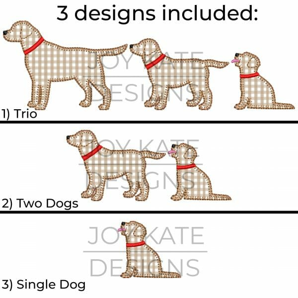 Blanket Stitch Big Brother/Little Brother Dog Applique Design for Machine Embroidery