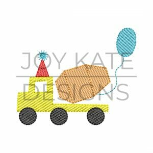 Cement mixer truck with gift and party hat machine embroidery design
