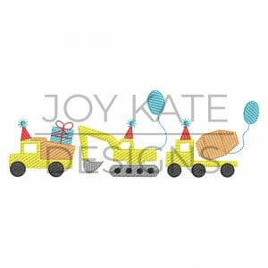 Birthday Construction Trio Light Fill/Low Density Embroidery Design