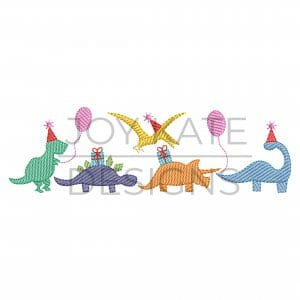 Row of four light sketch fill birthday party dinosaurs embroidery design